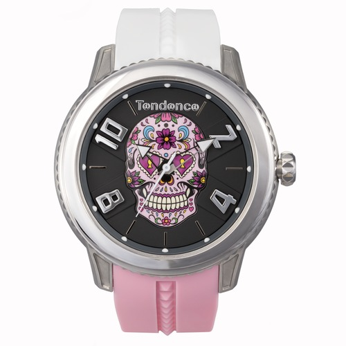 DOME 3H MEXICAN SKULL SILVER W/ WHITE AND PINK